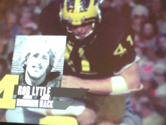Rob Lytle, shown here in a tribute video played at the National Football Foundation Awards Dinner Tuesday, was inducted into the College Football Hall of Fame in New York City.