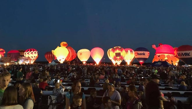 Balloons glow during the 2017 Balloon & Rib Fest in Wausau.