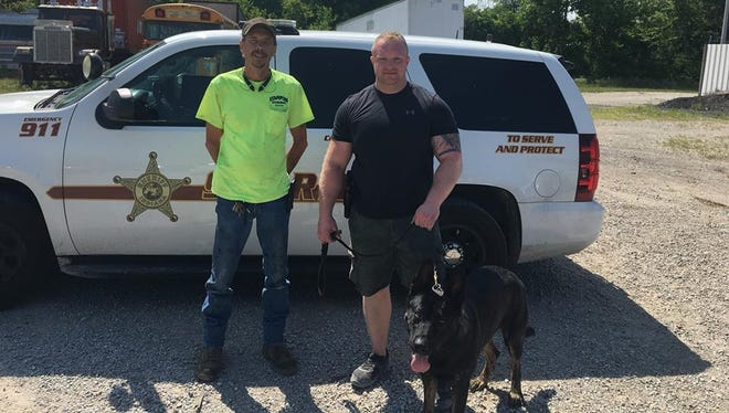 Cecil Gray of Stamper's Wrecker Services assisted with the company's donation of equipment to Deputy Tyler Marsh and his K-9 Agar.
