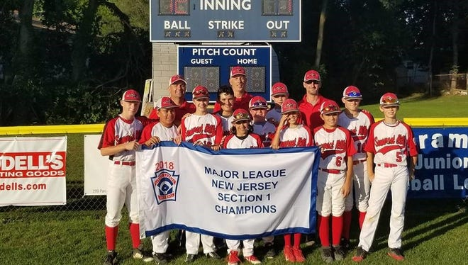 The Somerset Hills Little League baseball team won the Section 1 title and advanced to the state tournament, which begins this week. Front row: Jack Dahler, Liam Brown, Tyler Helpinstill, Ryan Tondo, Evan Hoeckele, Timmy Cawley, Connor Laverty. Second row: Charlie Gonella, Mikey Gallaway, Aiden Dill, Nick Villani. Back row: Coaches Paul Tondo and Steve Dill, Manager Jeff Calvert.