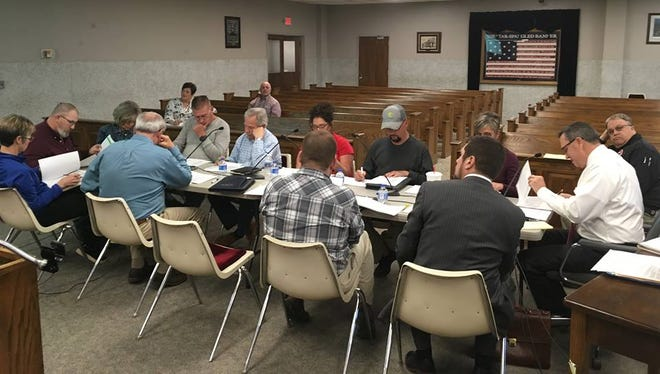 County magistrates and department heads sit down at a workshop recently to hash out the 2019-2020 budget.