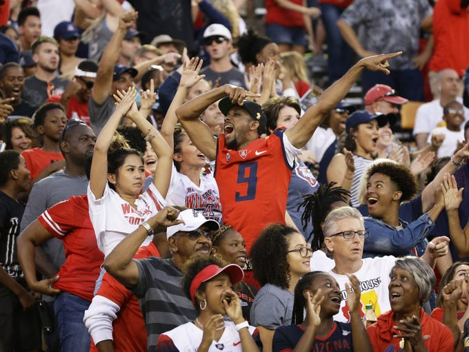 Arizona celebrate a touchdown by wide receiver Shun