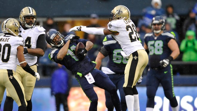 Seahawks WR Percy Harvin absorbed a playoff beating against the Saints.