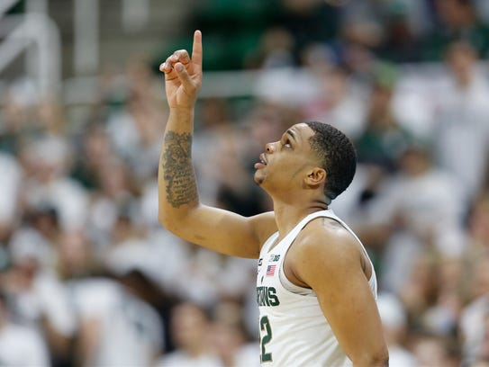 Michigan State's Miles Bridges walks on the court before