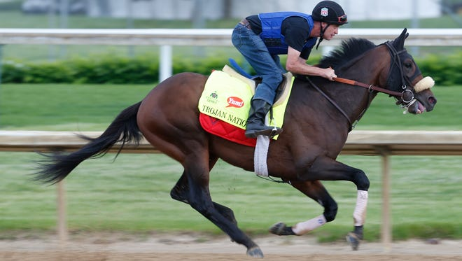 Trojan Nation works out at Churchill Downs prior to the Kentucky Derby. May 4, 2016.