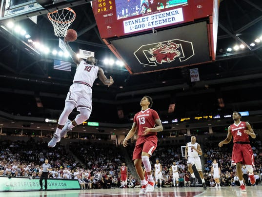 NCAA Basketball: Arkansas at South Carolina