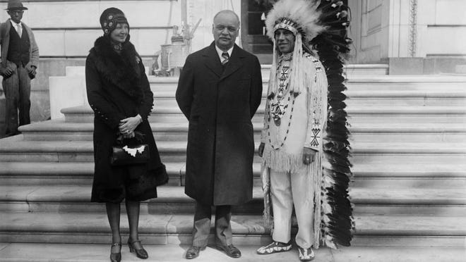 Charles Curtis with a Native American in 1929.