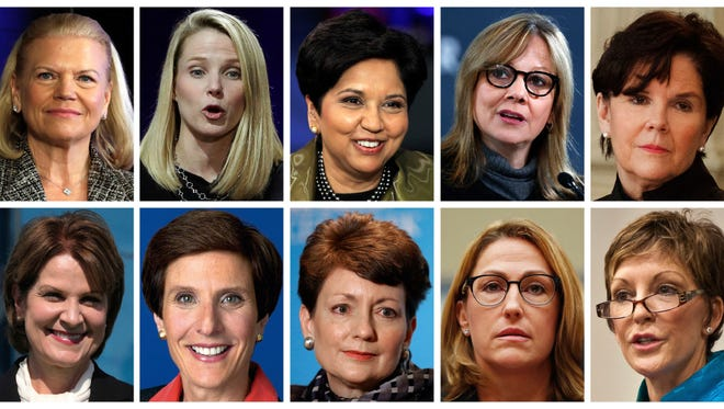 This photo combination of images shows the 10 highest paid women CEOs in 2016, according to a study carried out by executive compensation data firm Equilar and The Associated Press. Top row, from left: IBM CEO Virginia Rometty; Yahoo CEO Marissa Mayer; PepsiCo CEO Indra Nooyi; General Motors CEO Mary Barra, and General Dynamics CEO Phebe Novakovic. Bottom row, from left: Lockheed Martin CEO Marillyn Hewson; Mondelez International CEO Irene Rosenfeld; Duke Energy CEO Lynn Good; Mylan CEO Heather Bresch; and Reynolds American CEO Susan Cameron.
