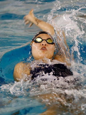 Piedra Vista's Dominique Tso competes in the 200-yard girls medley relay on Saturday during the Nephi Seavey Invitational at the Farmington Aquatic Center.