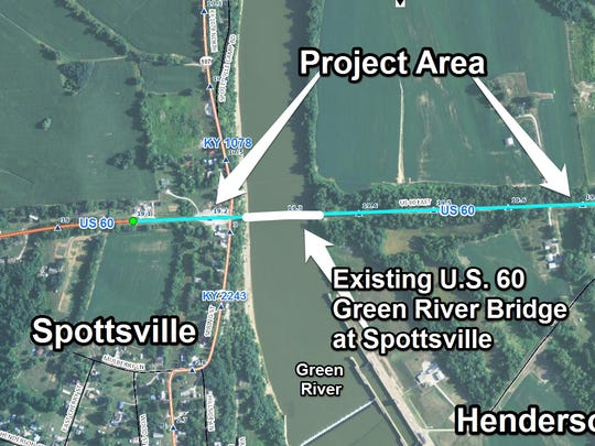 A map showing the location of the Spottsville Bridge