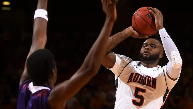 Auburn forward Cinmeon Bowers (5) had 16 points and 10 rebounds Friday night in a 119-81 victory over Northwestern State on Nov. 27, 2015.
