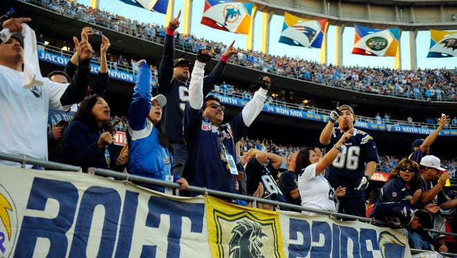 San Diego Chargers fans celebrate following a win against the Kansas City Chiefs at Qualcomm Stadium.