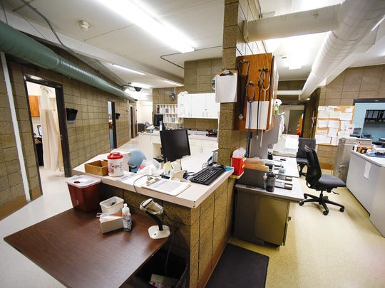 The former health care area had small exam rooms, left, nurses station, center, and records storage, right, shown Wednesday, Dec. 6, at the Minnesota Correctional Facility - St. Cloud.