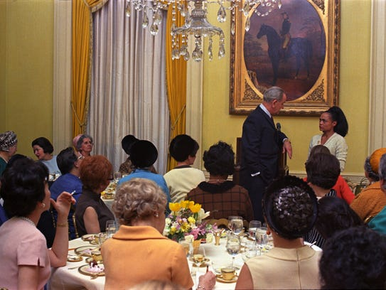 President Lyndon B. Johnson is asked a question by