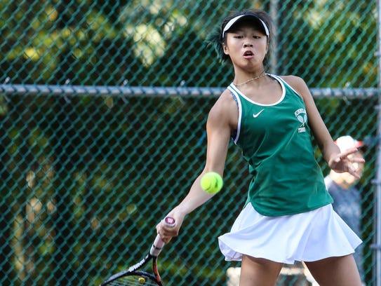 Kinnelon's Brittany Lau hits a return to Mendham's