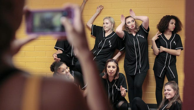 The club ASU Hip Hop Coalition take pictures before their dance performance at Wells Fargo Arena on August 16, 2016 for the Sun Devil Welcome and Culture Festival.