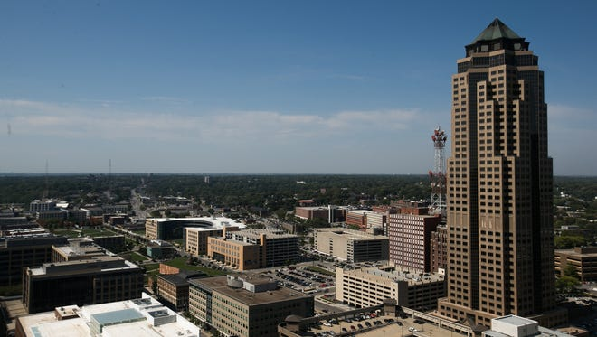The Des Moines skyline including The Principal Building, right, as seen from the Financial Center on Wednesday, September 16, 2015.