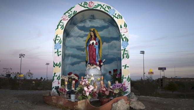 The altar with Our Lady of Guadalupe on the north side of the town of Guadalupe.