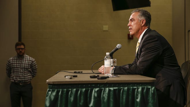 Alone at the top, facing a tough challenge. New Indiana Pacers President Kevin Pritchard spoke to media Monday at Bankers Life Fieldhouse. Pritchard, the Pacers' former executive vice president, is replacing Larry Bird.