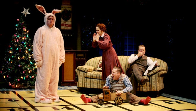"""Derek Whittaker, left, """"Megan Murphy Chambers, Curtis Reed and Jack E. Chambers in """"A Christmas Story."""""""