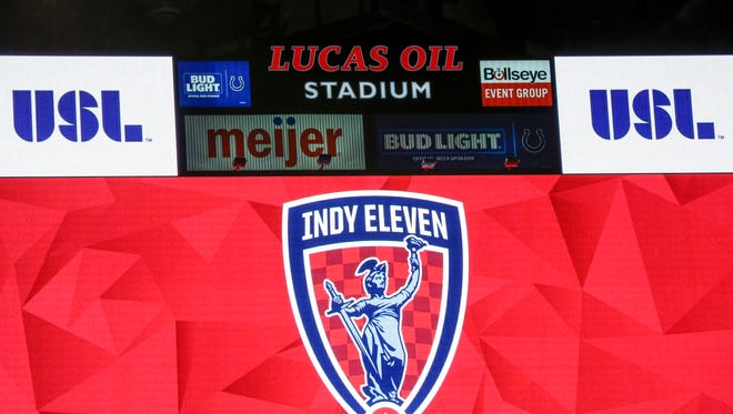 Indy Eleven signage around Lucas Oil Stadium during a press conference on Monday, Jan. 29, 2018.