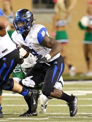 MTSU running back I'Tavius Mathers (4) will need to make an impact in the run game. The Murfreesboro native has nine touchdowns over the past three games.