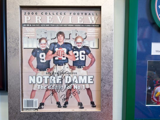 Signed keepsake from Brady Quinn at the office of Dr.