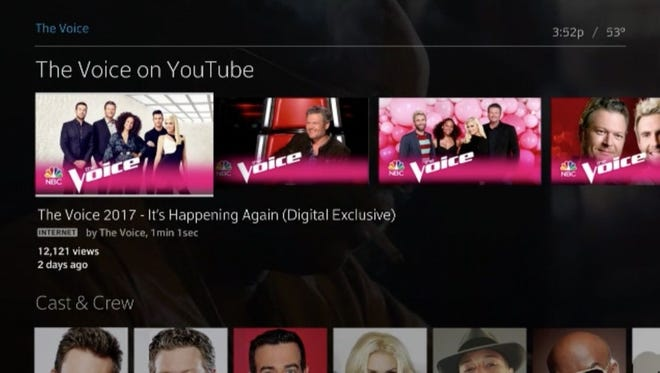 A screenshot from a Comcast demonstration of YouTube integrated into the Xfinity X1 platform.