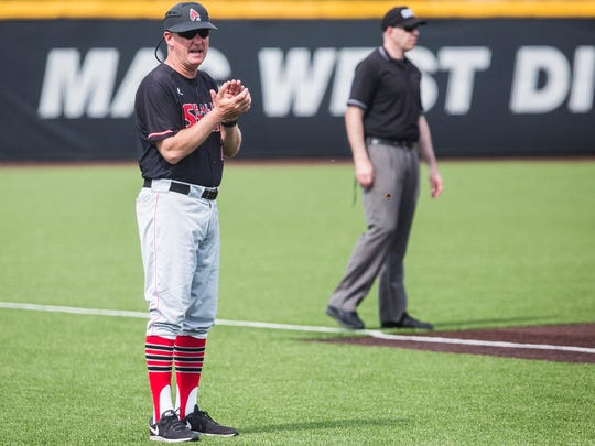 Ball State baseball coach Rich Maloney looks on during Ball State's game against Bowling Green on April 15, 2017.