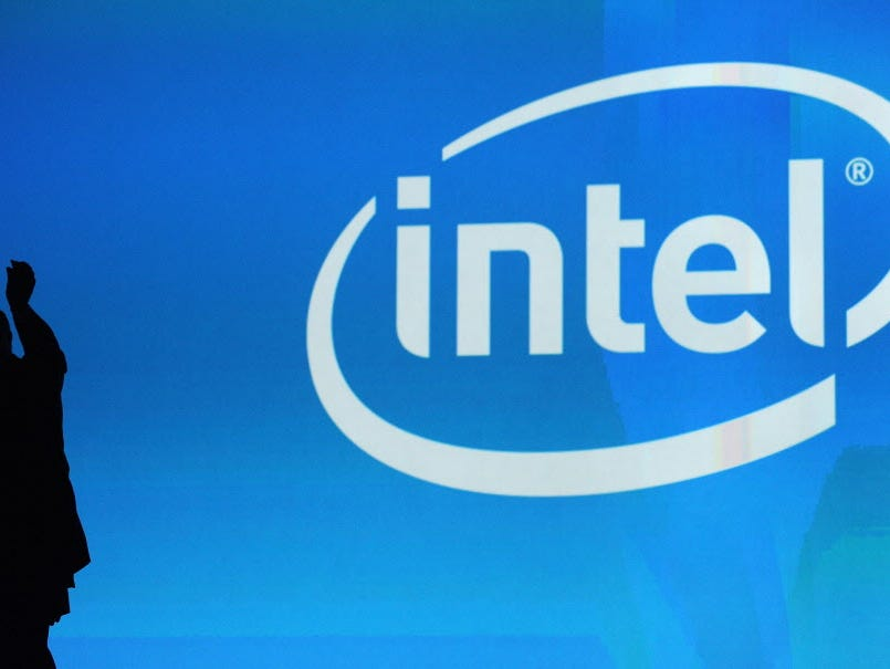 Intel warns of weak PC demand. (FILES) This January 7, 2010 file photo shows the Intel logo at the 2010 International Consumer Electronics Show in Las Vegas, Nevada.  US tech giant Intel said December 3, 2014 it was joining forces with Italy's Luxott