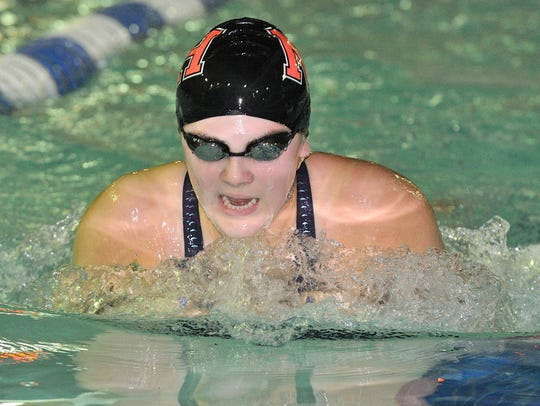 Kayla Kerrigan of Northern Highlands swims in the breaststroke