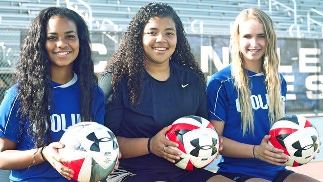 Chandler soccer's (from L-R) Kamryn Fisher, Gabi Senior and Quincy Pfeffer.