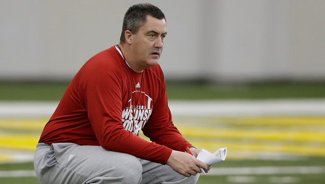Wisconsin Badgers head coach Paul Chryst looks on during practice inside the Don Hutson Center in Ashwaubenon on Saturday, April 2, 2016.