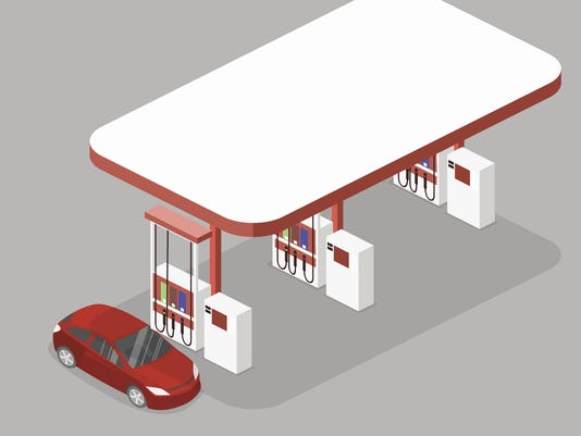 Isometric flat 3D vector outside Gas station, petrol station