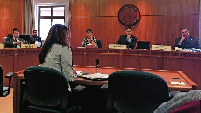 Rep. Monica Youngblood, R-Albuquerque, testifies about HB 67, which would give the state the right to hold back some third graders who cannot read, at the senate education committee Monday. The committee voted six to three to table the bill, effectively killing it.