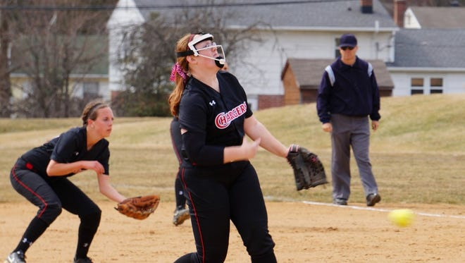Dallastown grad Kelsey Collins pitches for Lancaster Bible College.