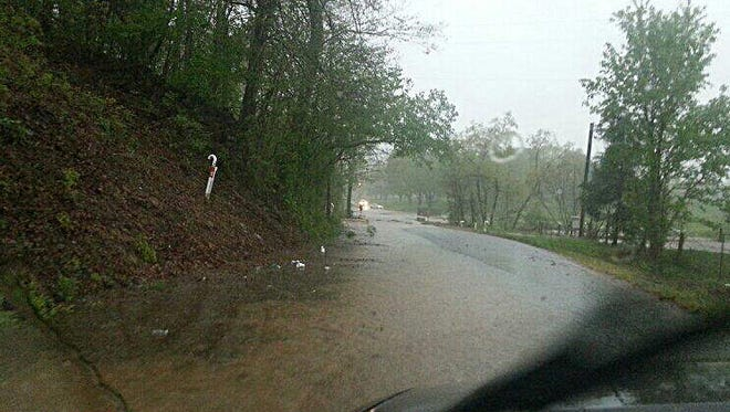 Flooding on Monday morning on Spencer Mill Road in south Dickson County.