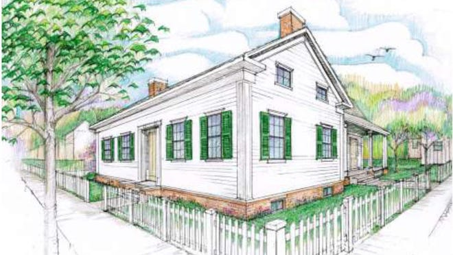 A rendering of Lincoln's Springfield Cottage that The Abraham Lincoln Association would like to construct on South Eighth Street. The project is intended to illustrate how Lincoln improved his economic and social condition and give visitors a glimpse of how the Lincoln family lived in the 12 years before they expanded the structure into its present two-story configuration. Rendering courtesy Massie Massie & Associates