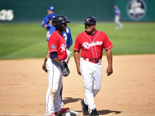 Tacoma Rainiers manager Pat Listach (right) is popular with his players.