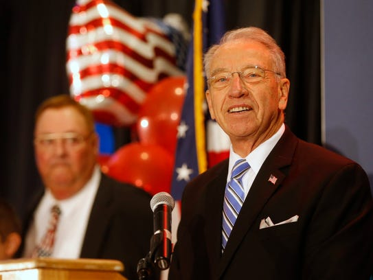 Sen. Chuck Grassley speaks Tuesday, Nov. 8, 2016, during