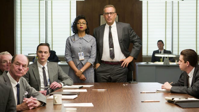 "Taraji P. Henson (standing left) and Kevin Costner (standing right) appear in the 2016 film ""Hidden Figures,"" which was nominated for an Oscar for best picture."