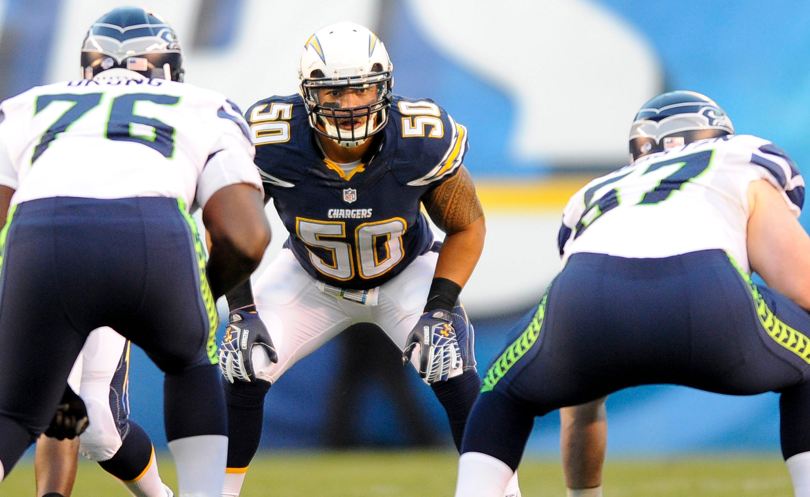 San Diego Chargers linebacker Manti Te'o (50) waits for the snap during the first half against the Seattle Seahawks at Qualcomm Stadium.