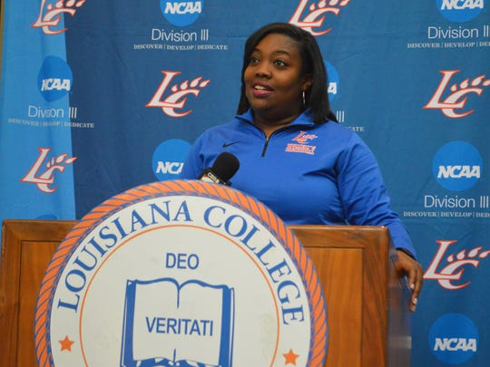 Louisiana College women's basketball coach Patrece Carter answers a question during LC's media day Wednesday.