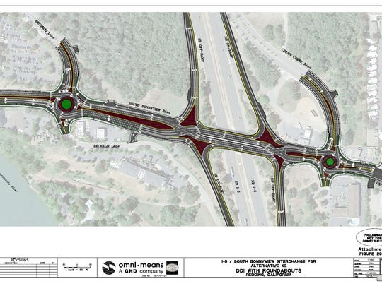Long-term plans for the South Bonnyview Road-Interstate 5 interchange replace two traffic lights with roundabouts and criss-cross directions on the bridge over the freeway.
