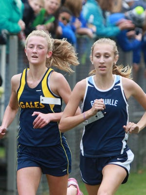 Granville's Rosie Lamb nears the finish line this past Saturday during the Division I district meet at Watkins Memorial.