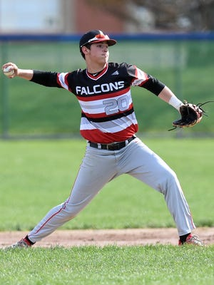Caden Contant throws to first base to get an out against Ravenna during a 2018 game.