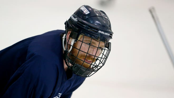 Geneseo men's hockey A.J. Sgaraglio (22) during practice.