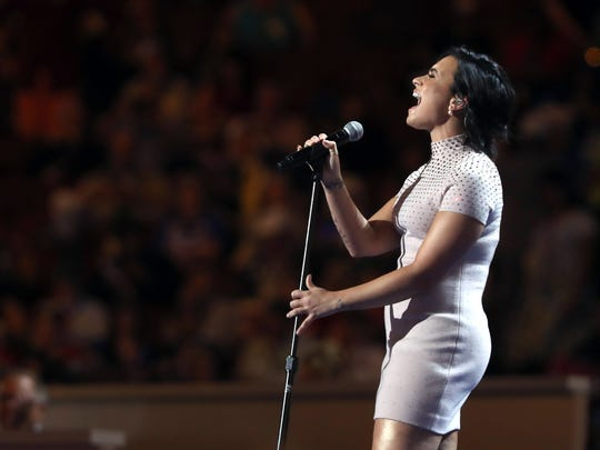 Demi Lovato performs during the Democratic National