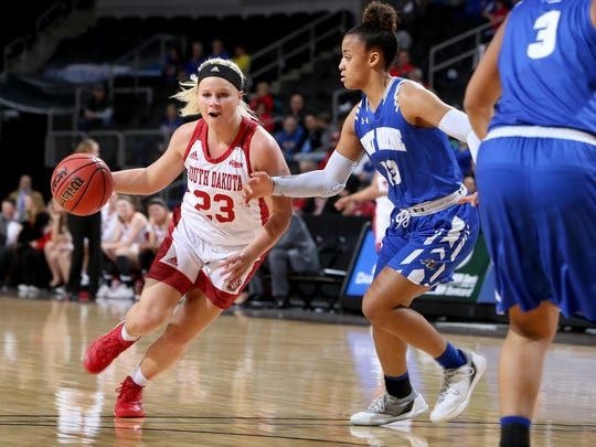 USD's Madison McKeever #23 drives to the basket at