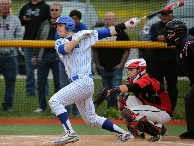 Schroeder's Phil Ferranti at the plate against Hilton.